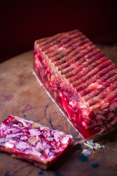 Ham hock beetroot and horseradish terrine