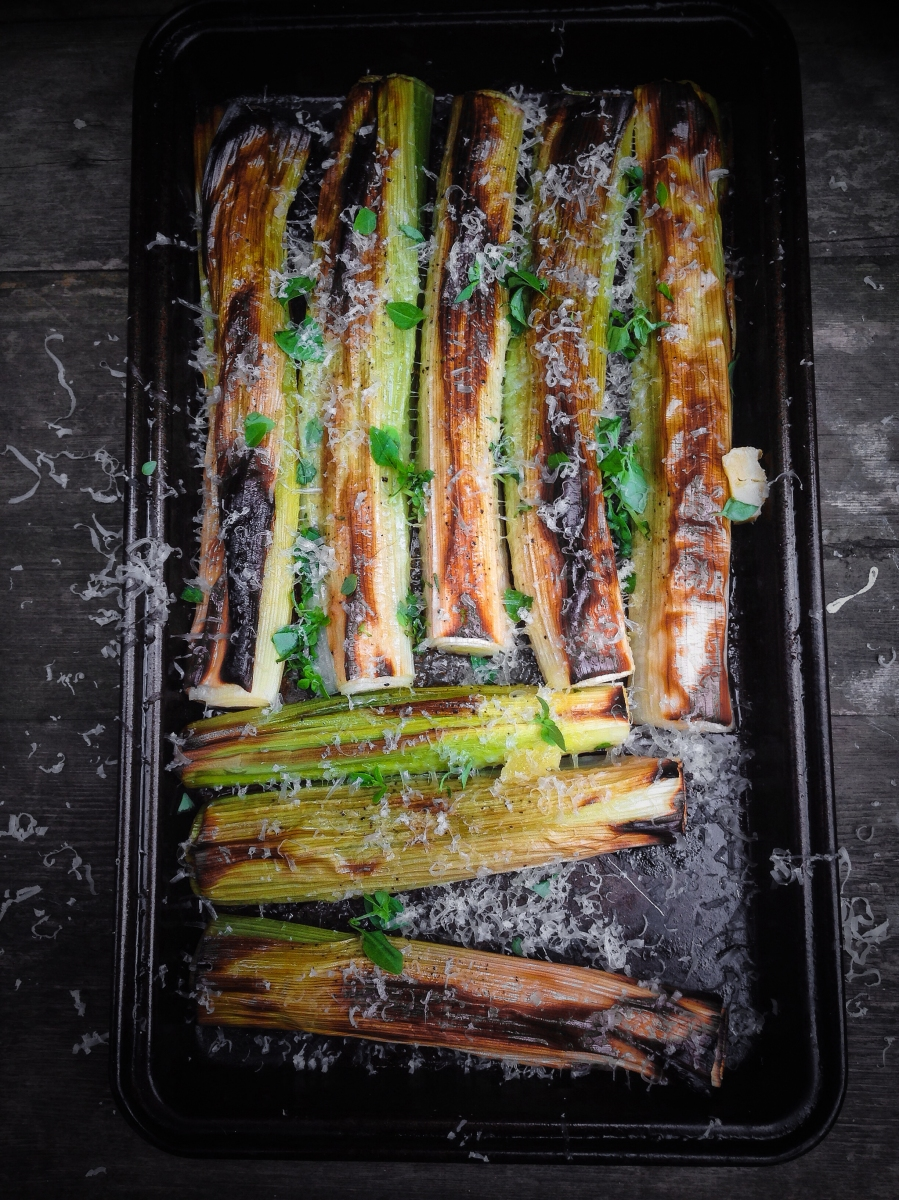 Simple roasted leeks with smoked Lincolnshire Poacher cheese