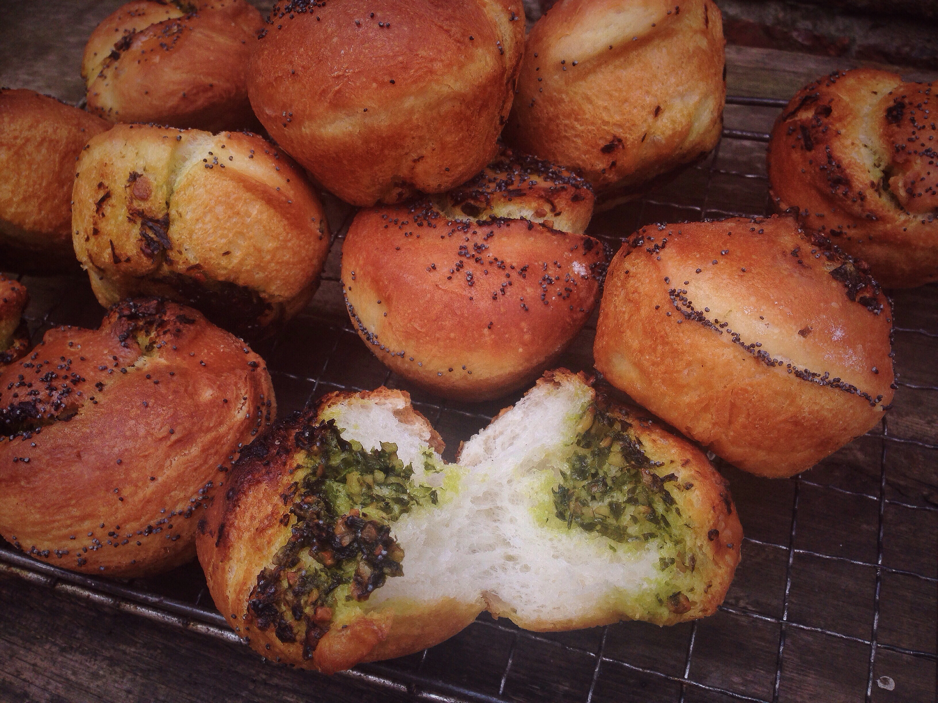 wild garlic pesto ciabatta bread rolls