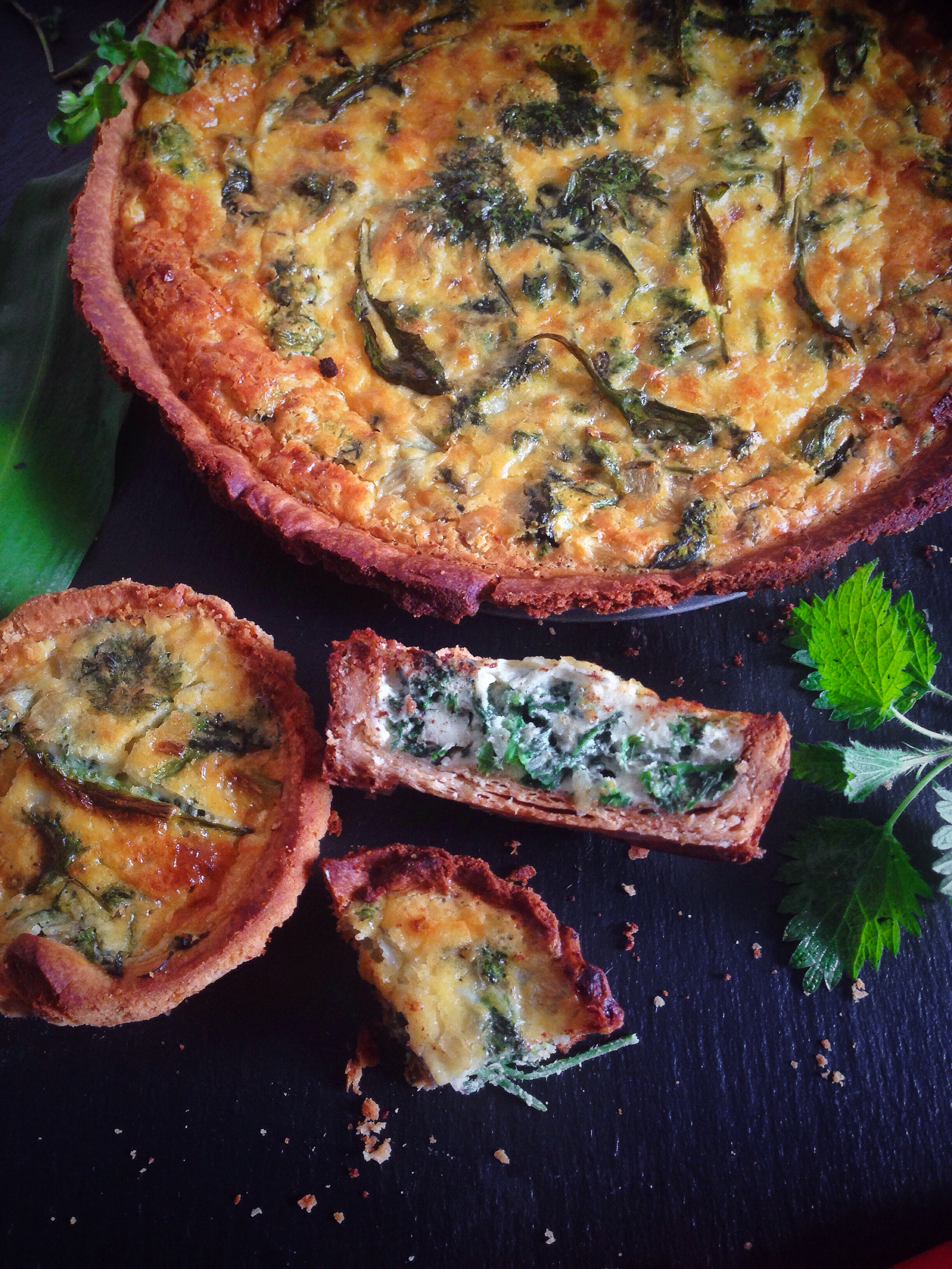 nettle and wild garlic quiche